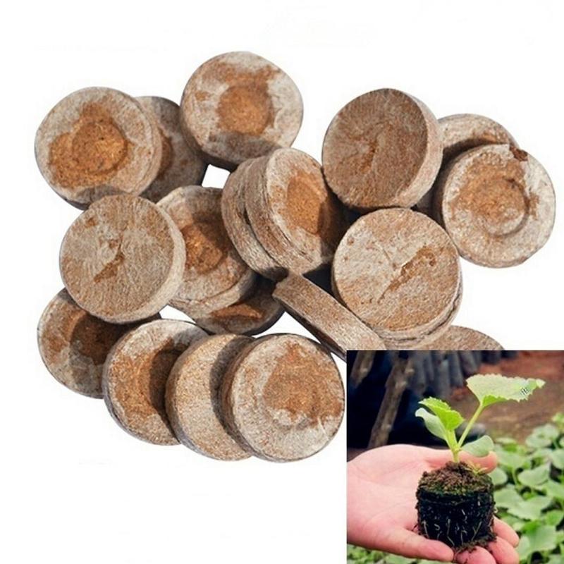 10pcs Nursery Pot Block Nutrient Compression Peat Soil Medium Packed Seedling Fertilizer For Plants Gardening Root Supplies