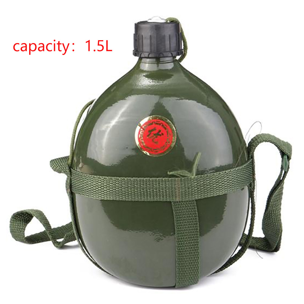 1.5L Sport Outdoor Cycling Bicycle Cup Portable Aluminum Water Bottle Army Tactical Canteen Military