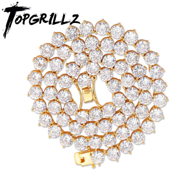 TOPGRILLZ Bling 3 Prong เทนนิส 4 มม.6 มม.ชาย Hip Hop Charm ทอง/เงินเครื่องประดับ iced Out AAA Cubic Zirconia