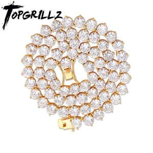 Image 1 - TOPGRILLZ Bling 3 Prong naszyjnik łańcuch tenisowy 4mm 6mm mężczyźni hip hop amulet złoty/srebrny kolor biżuteria Iced Out aaa sześcienne cyrkonie