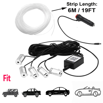 Car Accessories RGB Led Strip Light Car Styling Interior Atmosphere Decorative Lamps 12V 6M APP Cigarette Fiber Optic Interior