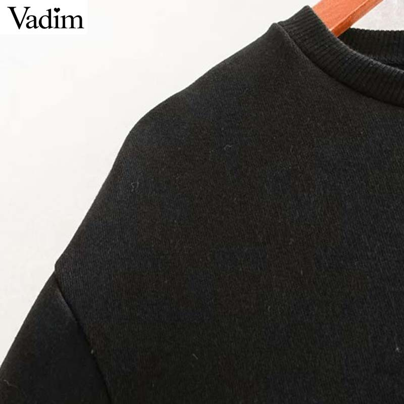 Image 4 - Vadim women chic oversized black sweatshirts long sleeve winter warm design pullovers female loose outwear casual tops HA601Hoodies & Sweatshirts   -
