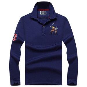 Image 4 - زائد حجم قمصان بولو للرجال العلامة التجارية قميص قطني بكم طويل Camisas الصلبة التطريز بولو الصيف الوقوف طوق الذكور قميص بولو