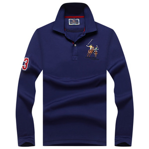 Image 4 - Plus size Mens POLO Shirts Brand Cotton  Long sleeve Camisas solid embroidery Polo Summer Stand Collar Male Polo Shirt