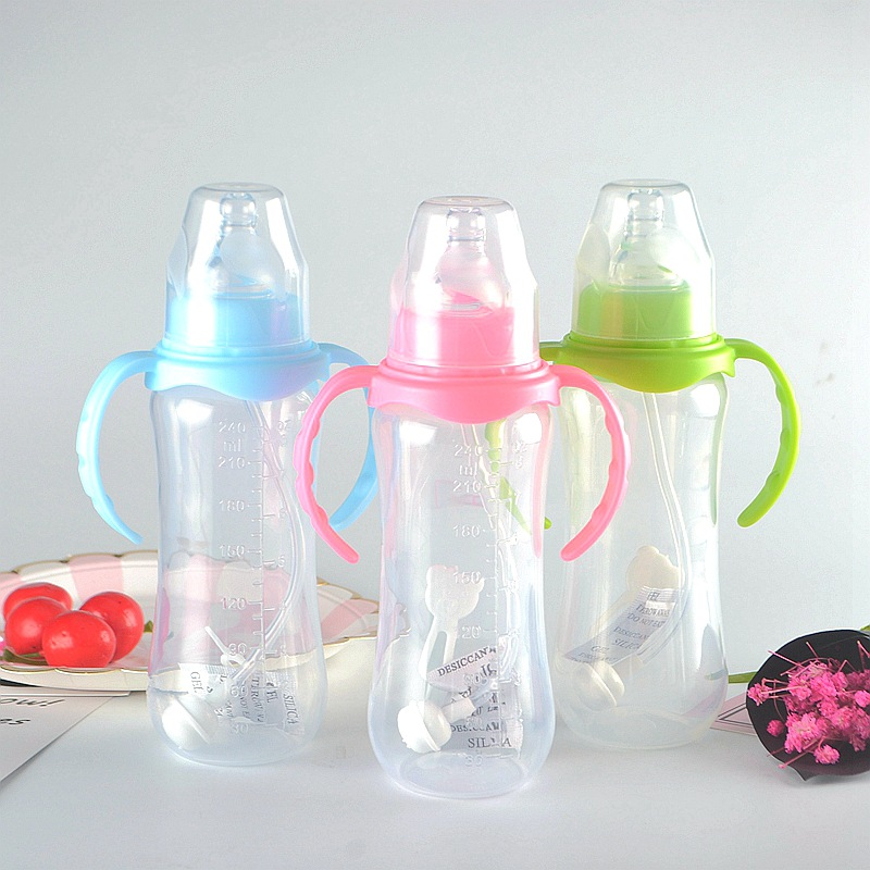 240ml Cute Baby Feeding Bottle Infant Newborn Children Learn Drinking Handle Bottle Infant Straw Juice Water Bottle Training Cup