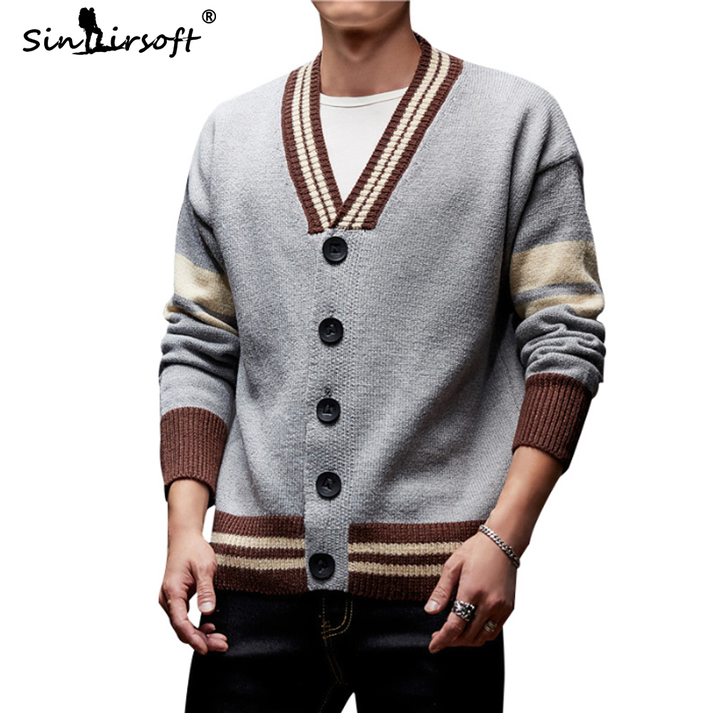 2019 New Men's Button Cardigans Sweaters Trend Casual Striped Pullover V-neck Thick Sweater Stretch Male Outerwear Top Clothing