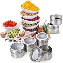 Кухонные инструменты 1 набор с магнитным дном для специй кувшин для специй банки для хранения перца контейнер приборы для заправки с наклейками из нержавеющей стали