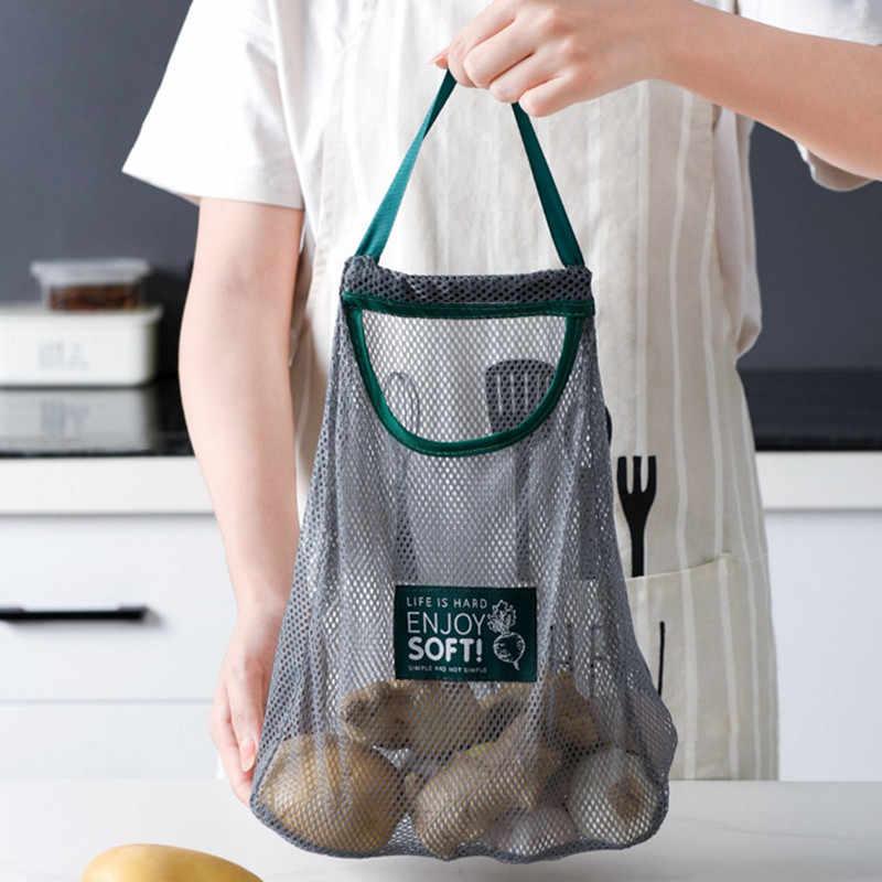 Sayuran Buah Menggantung Mesh Tas Penyimpanan Breathable Reusable Mesh Tas Organizer Eko Bisa Belanja Tote Tas