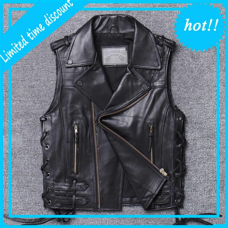 Chaleco de moto de verano para hombre, chaleco sin mangas de piel de vaca gruesa de alta calidad, de diseñador, chaqueta sin mangas Vintage euroamericana