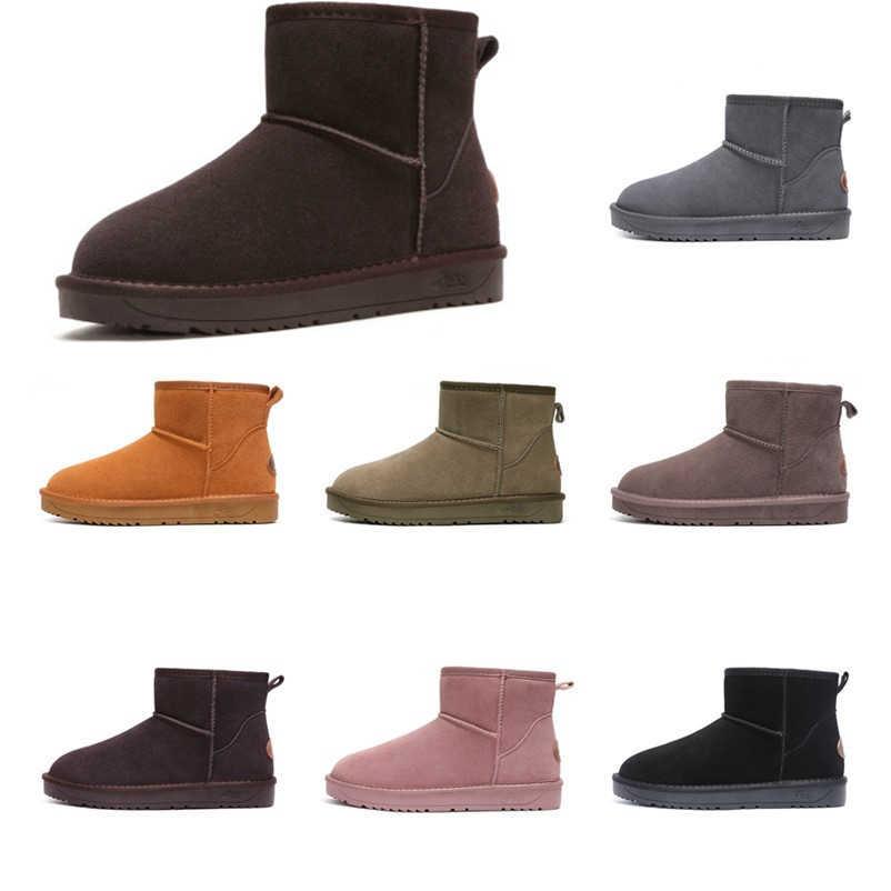 Erkekler kadınlar kış kar botları avustralya hakiki deri ayak bileği güz çizmeler sıcak lastik çizmeler çift Botas Mujer büyük boy 35- 44