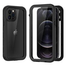 360 capa completa dupla face clara caso para o iphone 12 11 pro max xs xr x s 7 8 plus se 2020 mini à prova dhard água capa traseira