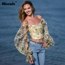Missufe Autumn Sexy Print Women Crop Top Strapless T-shirt Ladies Tube Top Long Sleeve Puff Sleeve Buttoned Women Tee Shirt long sleeve buttoned large grid shirt