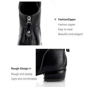 Image 5 - Mujeres invierno 2019 otoño nuevo espray puntiagudos negro de cuero artificial botas de mujer con cremallera trasera pliegues tamaño grande 43 botines