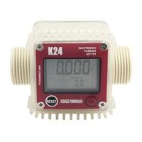 K24 LCD cyfrowy miernik przepływu turbina przepływomierz przepływomierz paliwa diesla 10 120L dla chemikaliów woda morze regulacja miernik przepływu cieczy w Przepływomierze od Narzędzia na