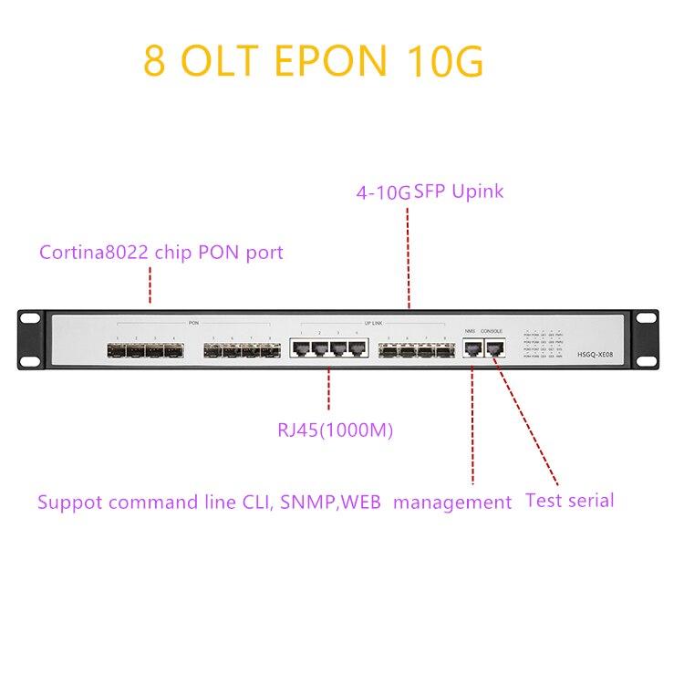 OLT EPONUPlink SFP 10G EPON OLT 8 PON RJ451000M 10 Gigabit 8 PON Port OLT GEPON Support L3 Router/Switch Open Software RJ451000M