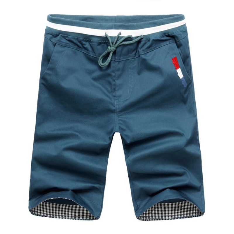 Men Casual Shorts New 2020 Summer Mens Elastic Waist Workout Shorts Knee Length Male Cotton Casual Sports Short Pants