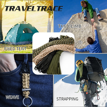 Paracord 550 Military Spec Type 9 Stand 2mm Lanyard Cores Rope Hiking Survival 4mm Parachute Cord Outdoor Clothesline Rescue 6