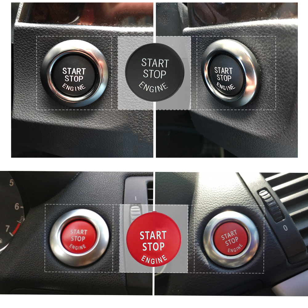 START Stop Engine Button Replace Cove for BMW X1 X5 E70 X6 E71 Z4 E89 3 5 Series E90 E91 E60 Key Decor Ring Trim Cap  Switch Kit 6