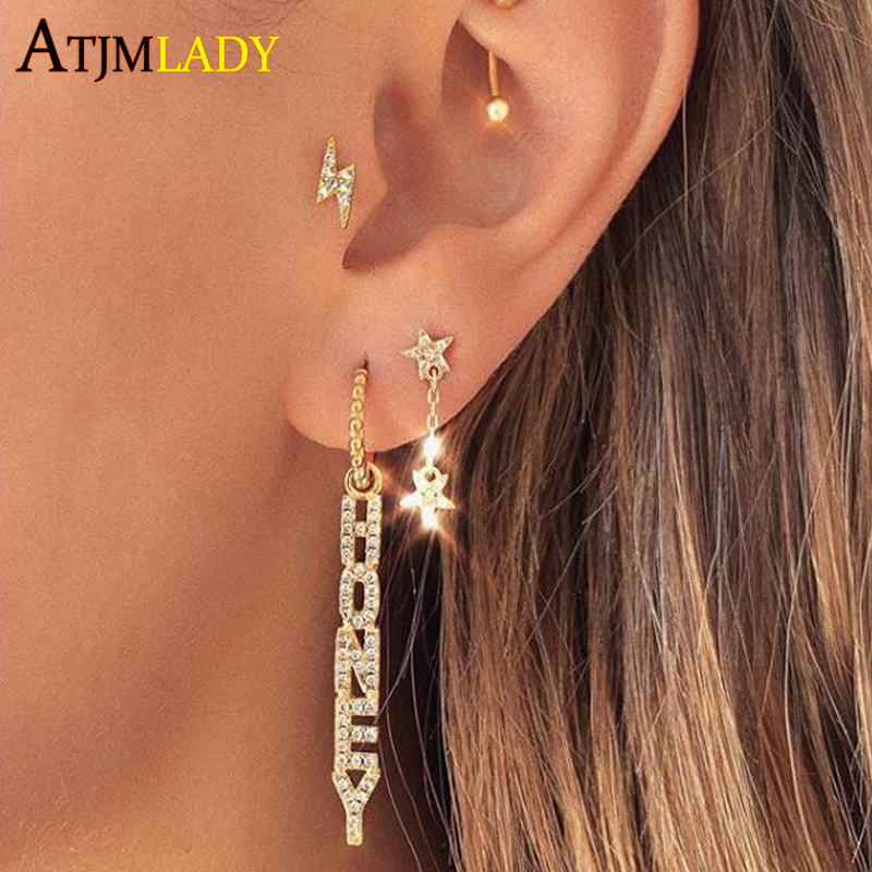 Letter Couple Honey Sweet Long Drop Earrings for Women micro pave 5a cz tassel earrings cute lovely party Wedding Jewelry