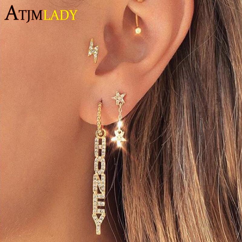 Letter Couple Honey Sweet Long Drop Earrings for Women micro pave 5a cz tassel earrings cute lovely party Wedding Jewelry