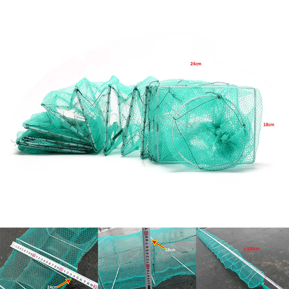 3.3M Garnalen Lokken Netten Nylon Visnet Opvouwbare Draagbare Krab Rivierkreeft Kreeft Catcher Live Val Vis Netto Paling