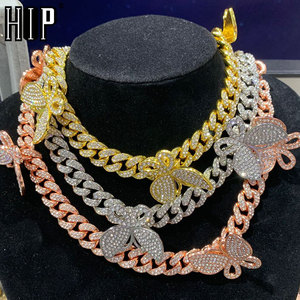 Hip Hop 13MM Iced Out Paved Rhinestones 1Set Miami Curb Butterfly Cuban Chain CZ Bling Rapper Necklace Bracelet For Men Jewelry