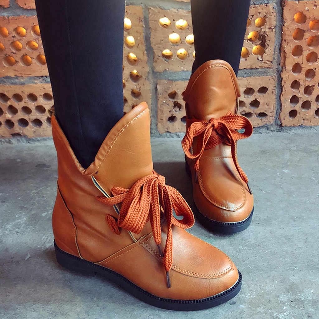 แฟชั่น LACE-Up รองเท้าผู้หญิงลำลองซิป BIKER แบนรองเท้าข้อเท้ารองเท้าแฟชั่น PU รองเท้าหนังผู้หญิง botas feminina