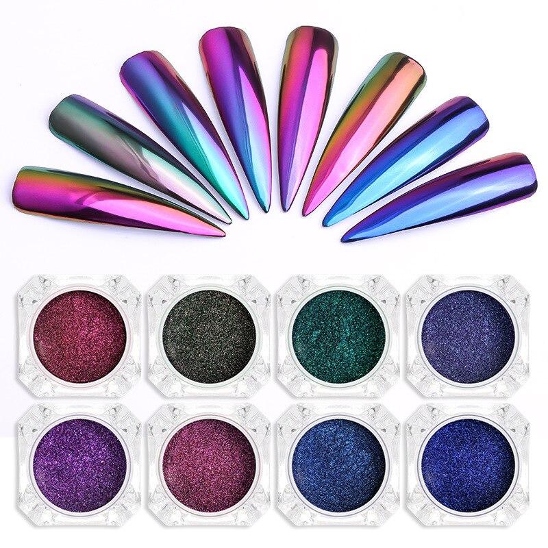 Prego glitter mergulhando em pó conjunto com escova de pó cor metálica a laser diy decorações da arte do prego glitter robusto