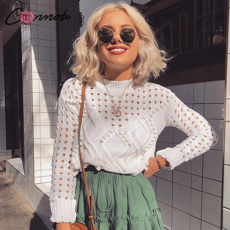 Conmoto Fashion White Hollow out Sweaters Women 2019 Autumn Winter Casual Thin Short Knit Tops Female Chic Jumpers Pull Femme(China)