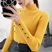 Для женщин осенний вязаный свитер для девочек однотонный свитер вязаный женский шарф из хлопка; мягкие, эластичные, Цвет пуловеры с кнопками длинный рукав с высоким, плотно облегающим шею воротником
