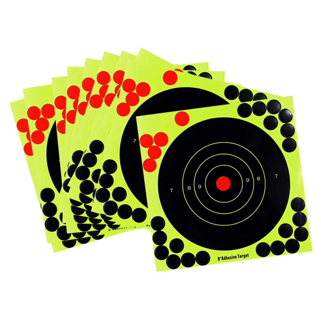 8 Inch Reactive Hunting Target - Bright Fluorescent Yellow - Self Adhesive Paper Target Sticker - 10 Sheets Pack