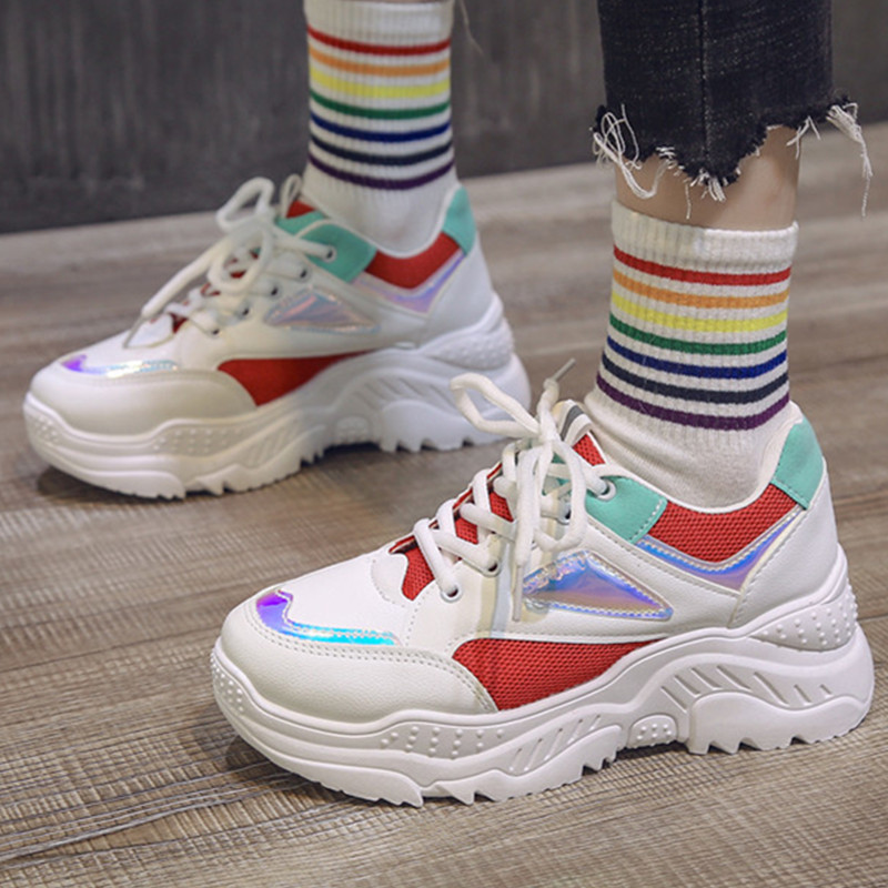 Platform Sneakers Women Fashion Colorful Laser Bling Breathable Fashion Mesh Lace-up Dad Chunky Shoes Ladies Autumn Sneakers