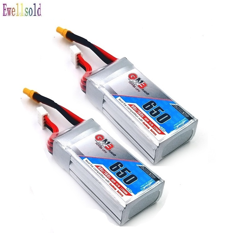 Ewellsold 2PCS <font><b>650mAh</b></font> 11.1v <font><b>3S</b></font> 80C/160C <font><b>Lipo</b></font> battery with XT30 Plug for FPV Racing Drone 4 axis UAV RC Quadcopter RC Drone image