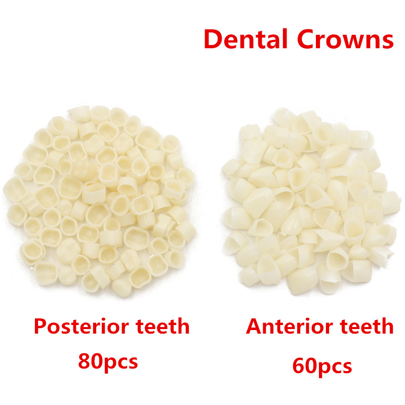 80Pc/pack Dental Crowns Oral Teeth Whitening Anterior Molar Crown Resin Porcelain Temporary Teeth Crown Dental Lab Dentist Tools