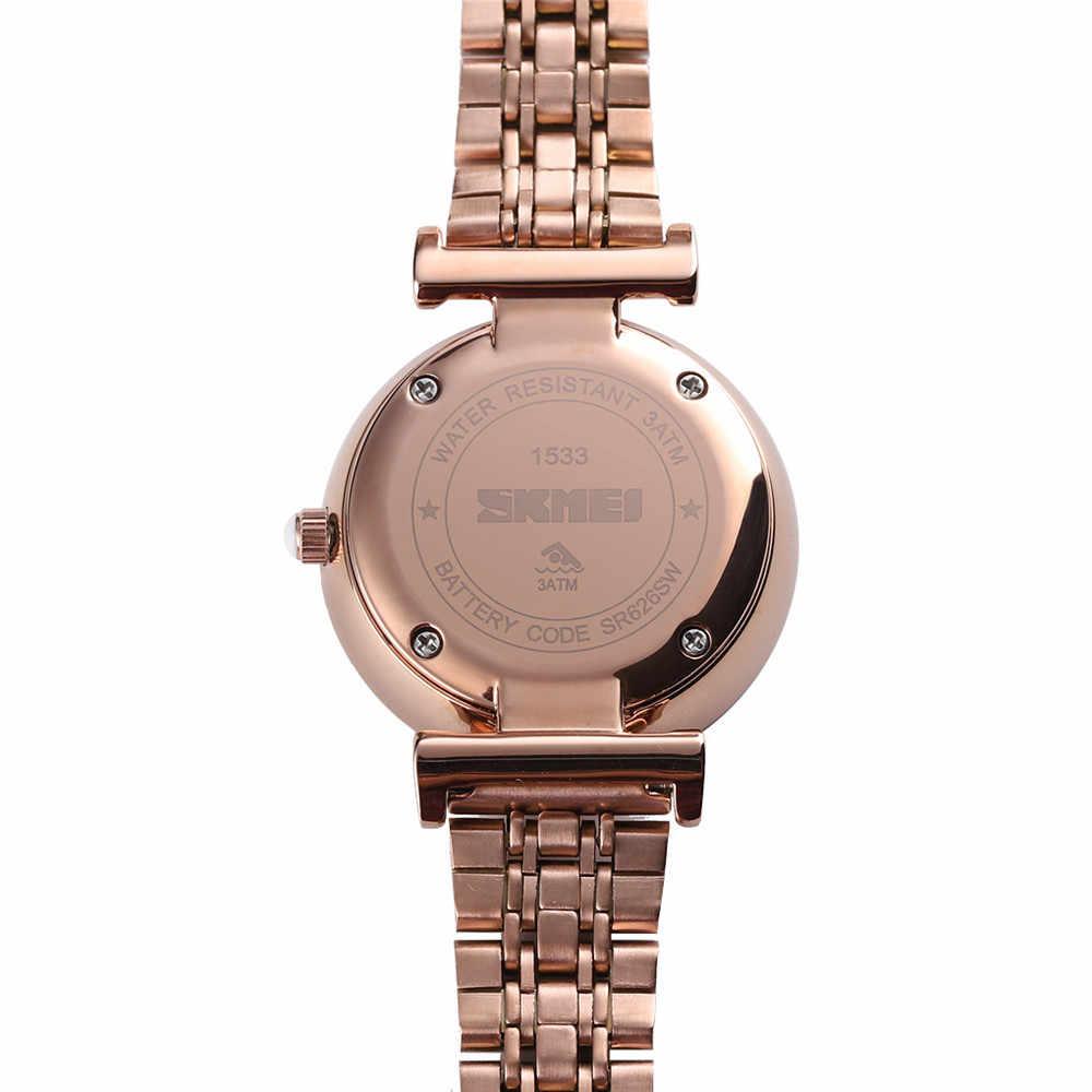 SKMEI Top Brand Brand Ladies Watch Women Quartz Watches Stainless Steel Strap Ladies Female Wristwatches Clock Montre femme 1533