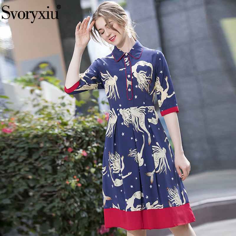 Svoryxiu Runway Designer Summer Vintage Silk Print Dress Women's Fashion Half Sleeve Turn-Down Collar Color Matching Dresses
