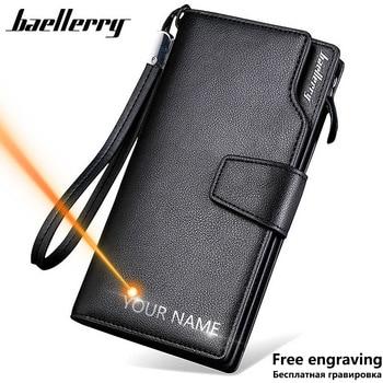 Длинный стильный высококачественный мужской кошелек на молнии с держателем для карт, вместительный брендовый Кошелек из искусственной кож...