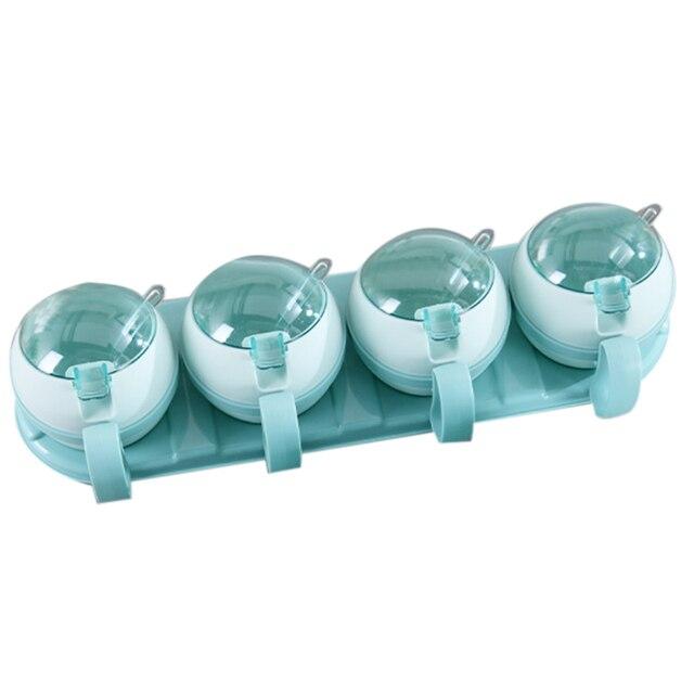 LIXF 4 Uds Set caja de condimentos hogar cocina sal almacenamiento de azúcar caja titular tarro de plástico para especias condimento Aceitera de cocina herramientas