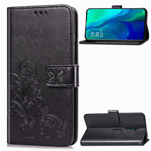 For Oppo Reno 10x Zoom Four-Leaf Clovers Leather Wallet Flip Stand Cover with Card Slots and Hand Strap Case