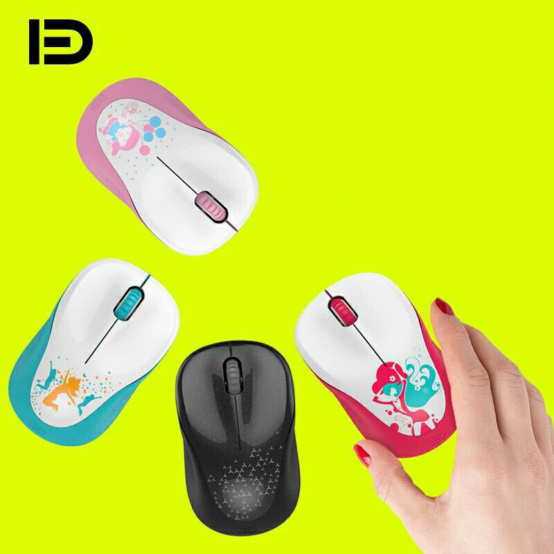 Cute Cartoon 1600 DPI USB Optical Wireless Computer Mouse 2.4G Receiver mini Ergonomics Mouse for PC Laptop for Pink Girl image