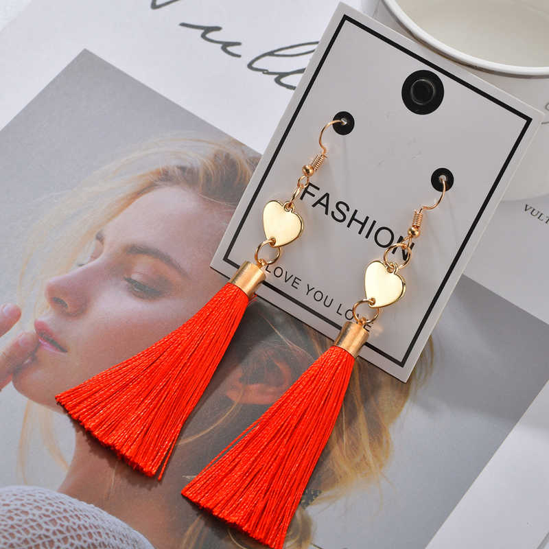 Bohemia Tassel Earrings Long For Women Rhinestone Red Grey Blue Silk Fabric Dangle Drop Earrings Vintage Christmas Gift Jewelry
