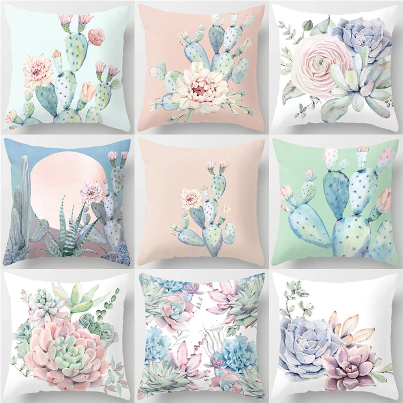 Tropical Cactus Succulent Plant Pattern Polyester Cushion Cover Decorative Car Seat Throw Pillow Cover For Sofa Home Decor 40829