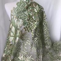 1 yard Gorgeous Lace Fabric Green and Gold Embroidered Floral Fabric Fancy Wedding Gown or Prom Dress Fabric