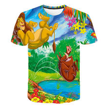 Летняя новая футболка с мультяшным принтом короля льва детская