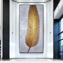 100% Hand Painted Golden Feather Art Oil Painting On Canvas Wall Art Frameless Picture Decoration For Live Room Home Decor Gift