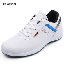 RGKWXYER New Fashion Leather Shoes Men Lace up Flat Breathable Sneakers for Casual Student Running Tourism