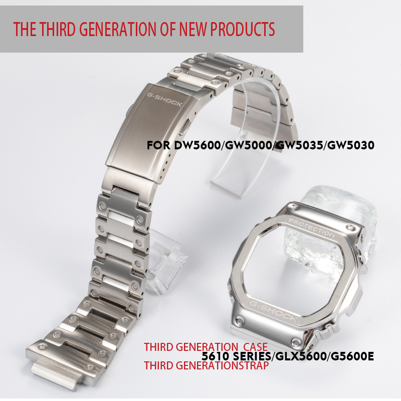 316L stainless steel watchband bezel case DW5600 GW5000 GW M5610 metal strap steel belt tools for