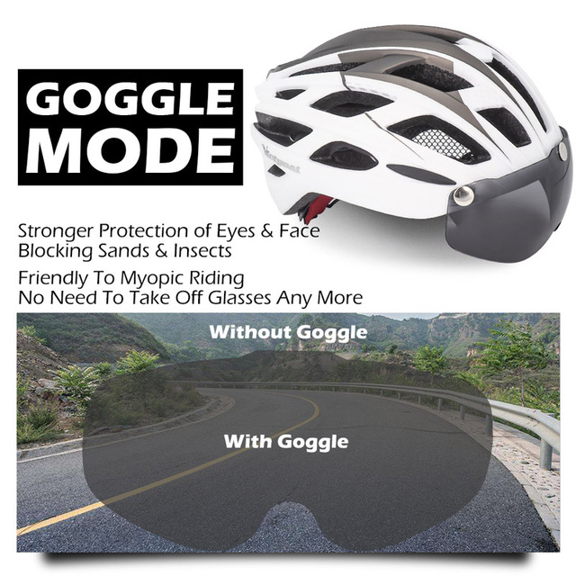 Victgoal capacete de bicicleta mountain bike, capacete de luz para ciclismo moldado integralmente à prova de vento com óculos de proteção 3