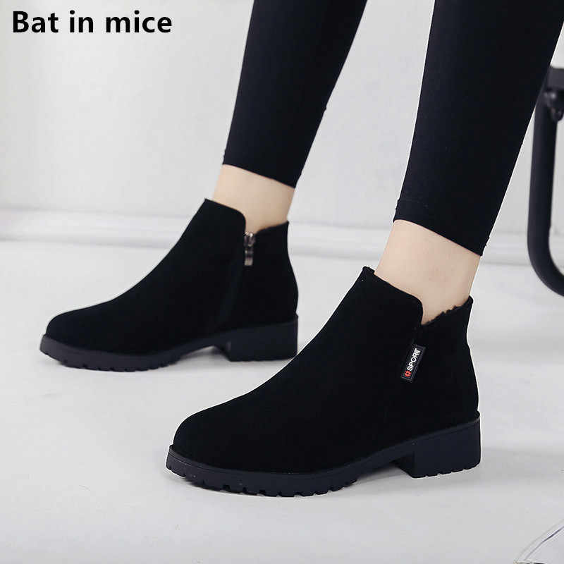 Autumn Winter women Ankle boots shoes women Round Toe zipper causal flats warm Snow boots woman Booties mujer zapatos T363