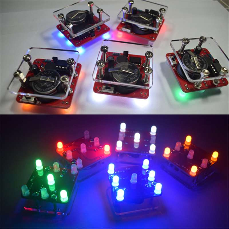 DIY Shaking LED Dice Kit With Small Vibration Motor Breathing Led Effect For Beginners Display